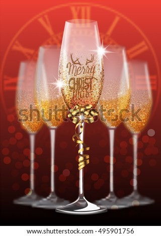 Christmas greeting card with glasses of champagne and blurred  background. Vector illustration