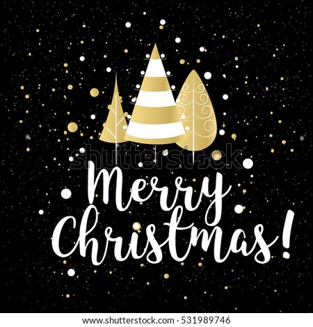 Christmas greeting card with handwritten brush calligraphy and decorative elements. Decorative vector illustration for winter invitations, cards, posters and flyers.