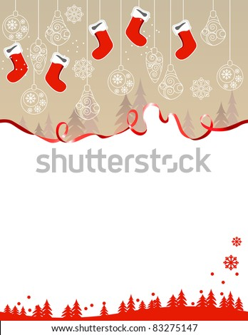 Christmas greeting card with hanging santa socks - stock vector