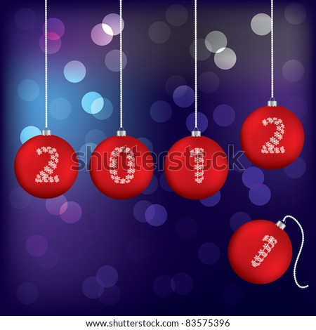Christmas greeting card with red balls