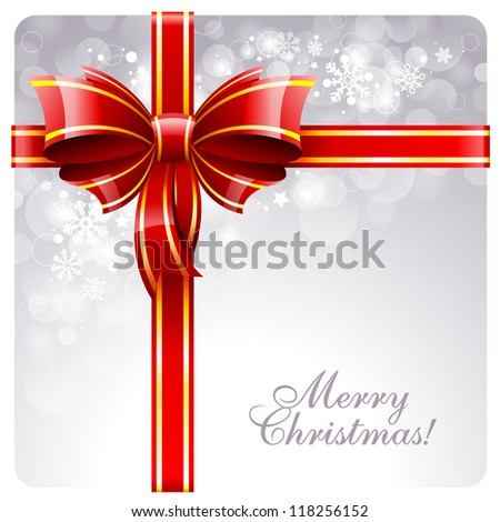 Christmas greeting card with red bow and copy space. Vector illustration.