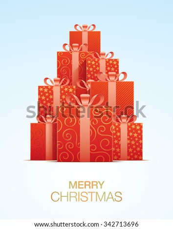 Christmas greeting card, with red gift boxes. - stock vector