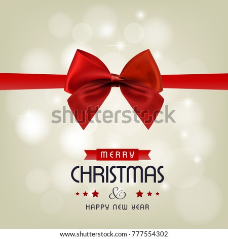 christmas greeting card with red ribbon and light background.