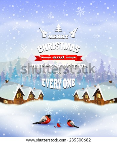 Christmas greeting card with rural street and old houses  rural winter landscape - holidays vector illustration