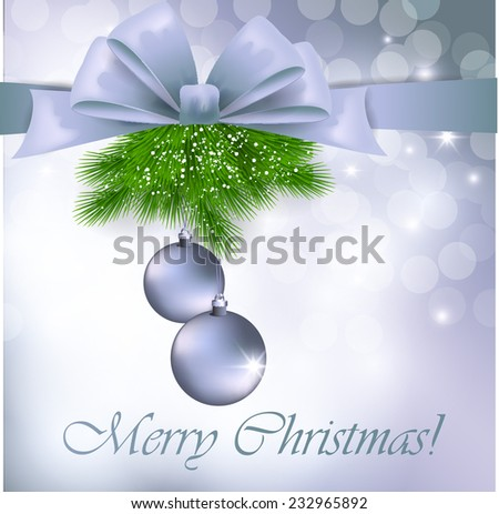 Christmas greeting card with silver bow and balls