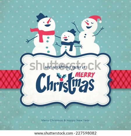 Christmas greeting card with snowman family - stock vector