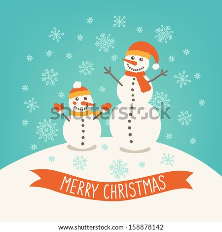 Christmas greeting card with snowmen - stock vector