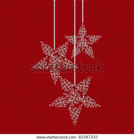 Christmas greeting card with star shape snowflakes and red background - stock vector