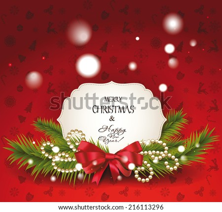 Christmas greeting card with the christmas decoration - stock vector