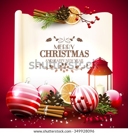 Christmas greeting card with traditional decorations and lantern in front of a old paper with calligraphic lettering - stock vector