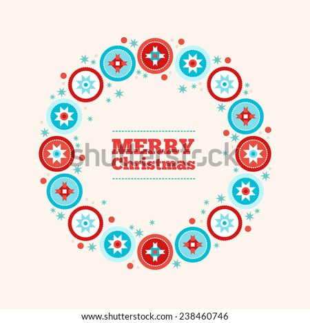 Christmas greeting card with wreath. Balls with geometric ornament, stars, snow. Perfect for gift card. Flat design vector illustration. - stock vector