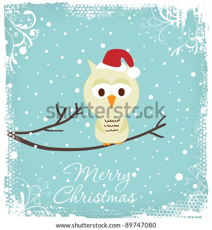 Christmas Greeting - Owl in a Christmas hat - stock vector
