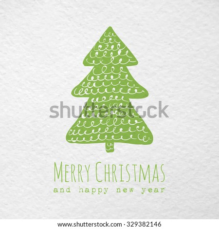 Christmas greeting paper card with hand drawn christmas tree