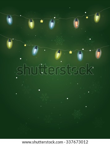 Christmas greeting postcard. Christmas lights and decoration on green background with snowflakes. - stock vector
