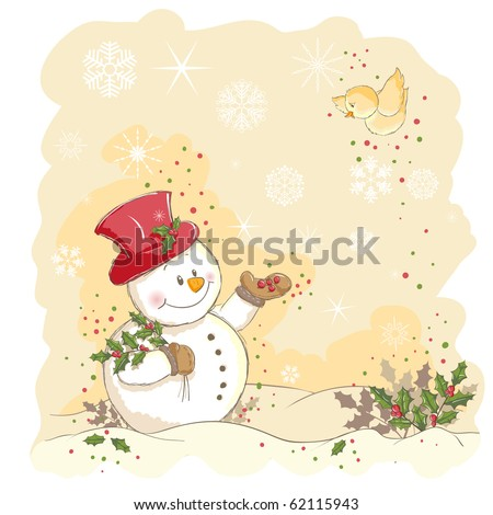 Christmas greeting - Snowman feeding a bird - everything grouped for easy use - vector illustration - stock vector
