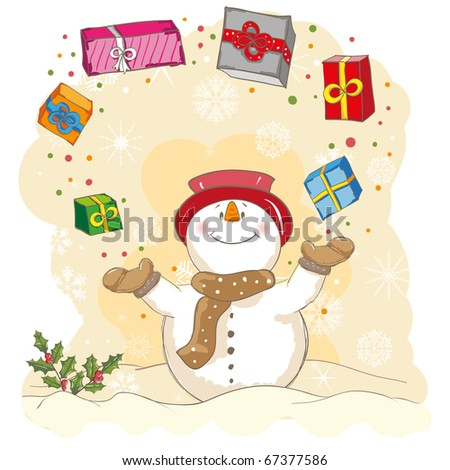 Christmas greeting - Snowman juggling gifts - everything grouped for easy use - vector illustration - stock vector