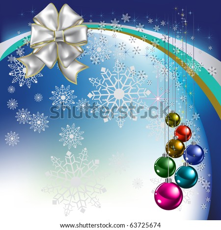 christmas greeting with balls on blue background