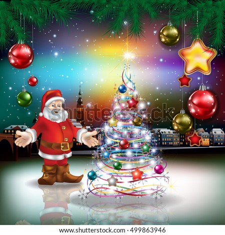 Christmas greeting with panorama of old city and Santa Claus