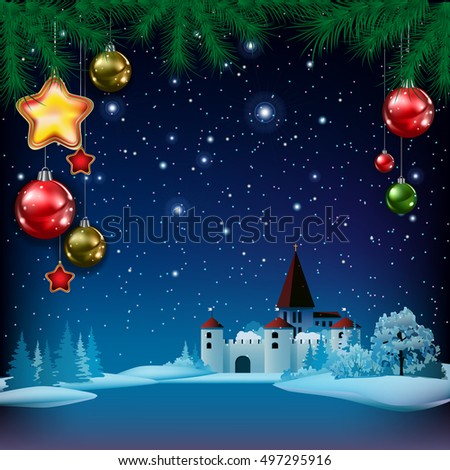 Christmas greeting with pine branch decorations and castle