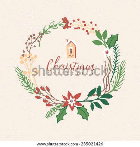 Christmas greeting wreath with house. Hand drawn illustration. Design elements. - stock vector