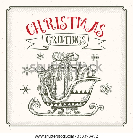 Christmas greetings card with sledge and gifts  - stock vector