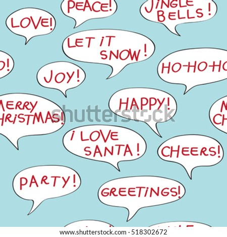 Christmas greetings seamless pattern with comics speech bubbles, cartoon elements over a blue background