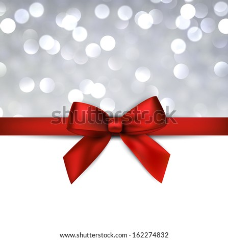 Christmas grey defocused background with red bow. Vector eps10.  - stock vector