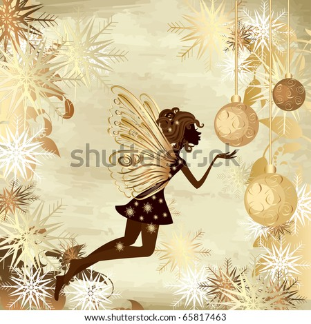 Christmas grunge background with a fairy - stock vector