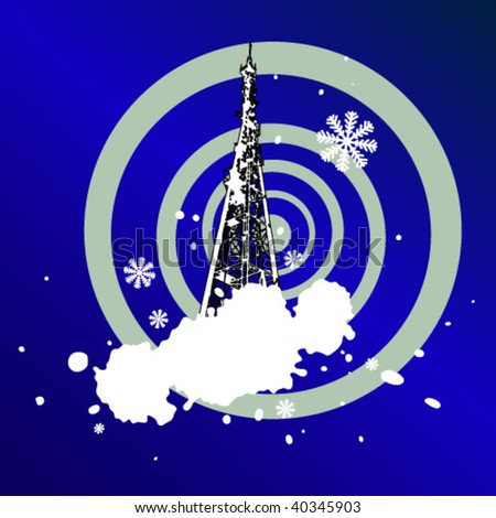 christmas grunge background with Television tower  (vector) - stock vector