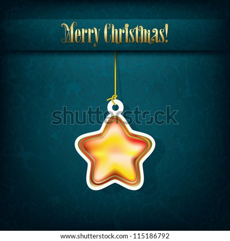 Christmas grunge greeting with decoration on green - stock vector