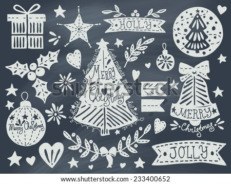 Christmas grunge set on blackboard. EPS 10. No transparency. No gradients.  - stock vector