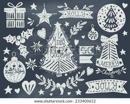 Christmas grunge set on blackboard. EPS 10. No transparency. No gradients.  - stock vector