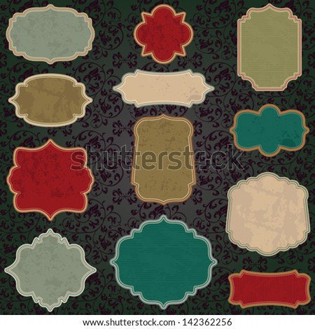 Christmas grunge vintage label set - stock vector