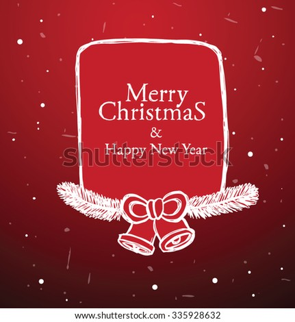 Christmas had drawn white label with Christmas tree branches and bells on red background, vector - stock vector