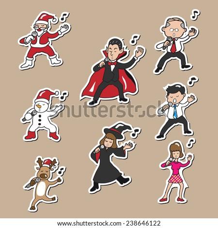 Christmas Halloween Business people singing - stock vector