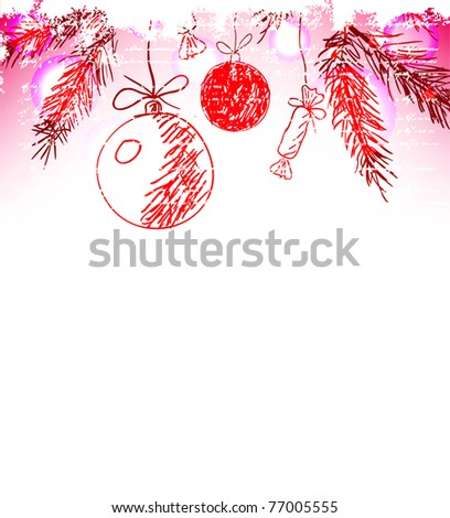 Christmas hand drawn background - stock vector