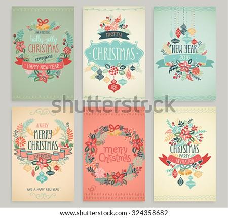 Christmas hand drawn card set. Vector illustration. - stock vector