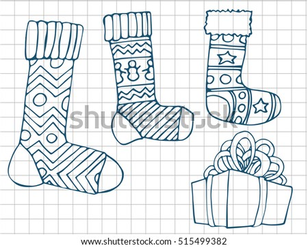 Christmas hand drawn collection. Gift boxes, socks and snowflakes. Xmas tree. Vector image.