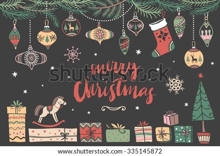 Christmas hand drawn design elements with calligraphy. Handwritten modern brush lettering. - stock vector
