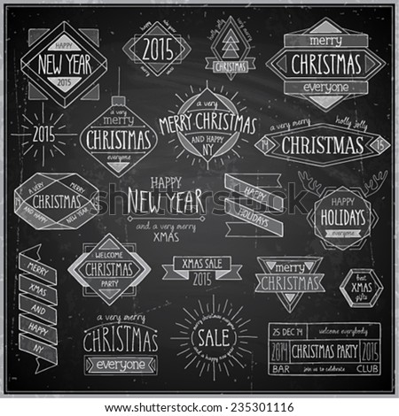 Christmas hand drawn emblems set - Chalkboard. - stock vector