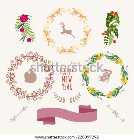 Christmas Hand Drawn Floral Vector Set. Design Elements, Decoration, Ribbons, Laurel, Labels, Wreath and Holidays symbols. - stock vector