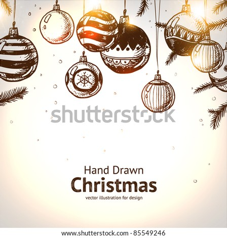 Christmas hand drawn fur tree for xmas design. With balls. - stock vector