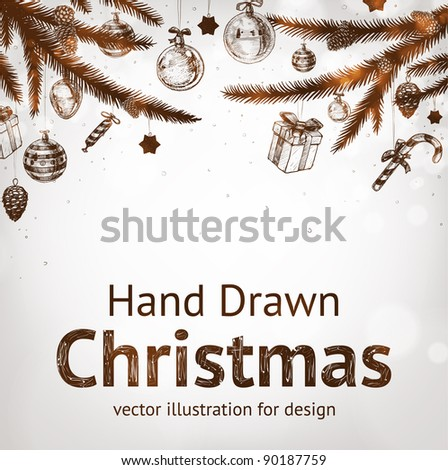 Christmas hand drawn fur tree for xmas design. With balls, gifts, toys and fir-cone. - stock vector