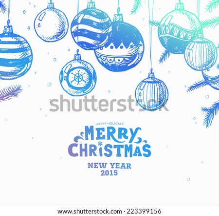 Christmas hand drawn fur tree for Xmas design. With balls, toys, candy cane, mistletoe, holly berries and fir-cone. Holiday invitation design. Modern Colors Version. - stock vector