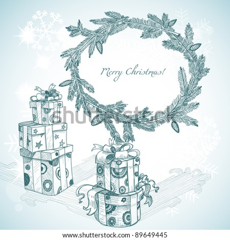 Christmas hand drawn gifts and fir tree wreath - stock vector