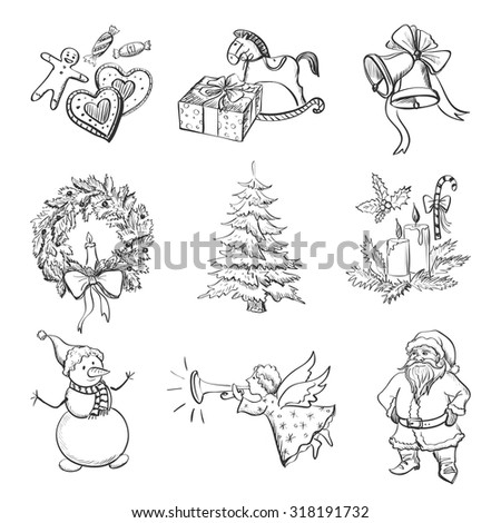 Christmas hand drawn icon set with Christmas mittens, candy cane, holly berries, smiling snowman and stocking, xmas tree, Deer, Santa, angel, christmas toys, gifts and bells. - stock vector