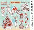 Christmas hand drawn symbols and stickers vector set - stock vector