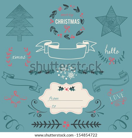 Christmas Hand Drawn Vector Set: Design Elements and Page Decoration, Vintage Ribbon, Laurel, Label - stock vector
