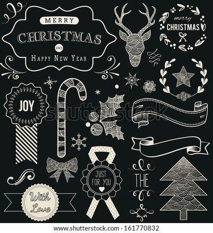 Christmas Hand Drawn Vector Set: Design Elements and Page Decoration, Vintage Ribbon, Laurel, Label on chalkboard background. - stock vector