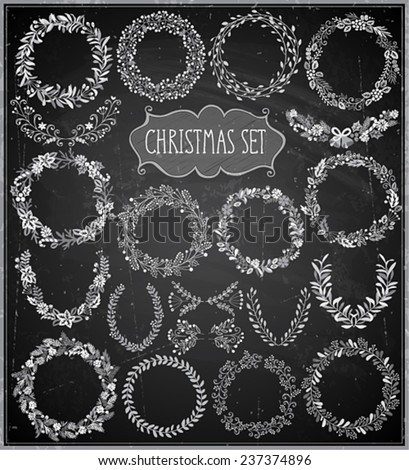Christmas hand drawn wreath set - Chalkboard. Vector illustration. - stock vector
